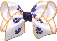Toddler Purple Paw Prints on White with Yellow Gold Moonstitch Double Layer Overlay Bow