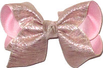 Toddler Shimmer metallic over light pink Double Layer Overlay Bow