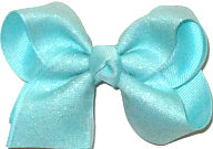 Toddler Aqua Glitter Chiffon over Aqua Double Layer Overlay Bow