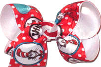 Toddler Dr Suess Cat in the Hat Thing 1 Thing 2 One Fish Two Fish Double Layer Overlay Bow
