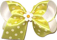 Toddler Maize Satin with White Dots over White with Daisy Miniature Double Layer Overlay Bow