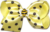 Toddler Baby Maize Satin with Black Dots over Baby Maize with Bumble Bee Miniature Double Layer Overlay Bow