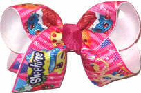 Toddler Shopkins over White Double Layer Overlay Bow