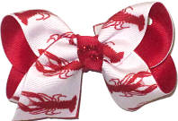 Toddler Crawfish on White over Red Double Layer Overlay Bow