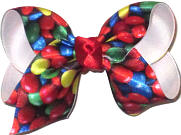Toddler M&Ms Candy over White Double Layer Overlay Bow