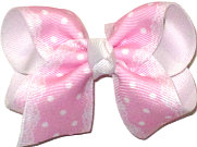 Toddler Pink with White Dots and Printed Lace Edge over White Double Layer Overlay Bow