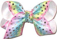 Toddler Pastel Stripes with Metallic Silver Dots over White Double Layer Overlay Bow