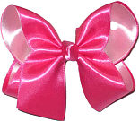 Large Shocking Pink over Pink Satin Overlay Bow