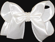 White Large Double Layer White Satin with Pearled Edge Chiffon and Center Pearl Band
