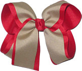 Large Red and Khaki Large Overlay School Bow
