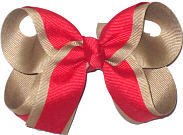 Medium Red and Khaki Medium Overlay School Bow