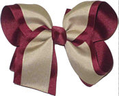 Large Beet and Khaki Large Overlay School Bow