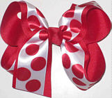 Large Red and White Large Overlay School Bow