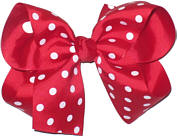 Large Red and White Large Polka Dot School Bow
