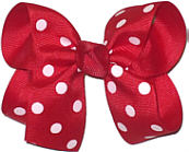 Medium Red and White Medium Polka Dot School Bow