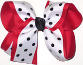 Large Red Black and White Large Overlay School Bow