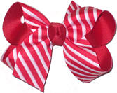 Medium Red and White Medium Overlay School Bow
