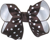Medium Brown and White Medium Die Cut Ribbon Overlay School Bow