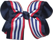 Large Red Navy and White Large Overlay School Bow
