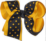 Large Yellow Gold and Black Large Die Cut Ribbon Overlay School Bow