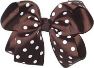 Large Brown and White Large Polka Dot School Bow