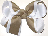 Medium White and Khaki Medium Overlay School Bow