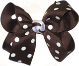 Medium Brown and White Medium Polka Dot School Bow