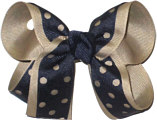 Medium Oatmeal and Navy Medium Die Cut Ribbon Overlay School Bow
