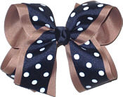 Large Taupe and Navy Large Overlay School Bow