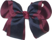 Large Burgundy and Navy Large Overlay School Bow