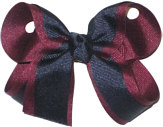 Medium Burgundy and Navy Medium Overlay School Bow
