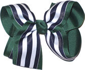 Large Evergreen White and Navy Large Overlay School Bow