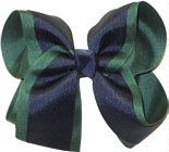 Large Evergreen and Navy Large Overlay School Bow
