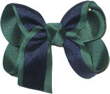 Medium Evergreen and Navy Medium Overlay School Bow