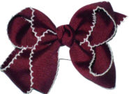 Medium Burgundy and White Medium Moonstitch School Bow