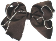 Medium Brown and White Medium Moonstitch School Bow