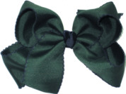 Large Evergreen and Navy Large Moonstitch School Bow