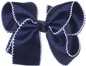 Large White and Navy Large Moonstitch School Bow
