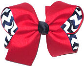 Large Red over Navy and White Chevron Stripes Double Layer Overlay Bow