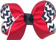 Medium Red over Navy and White Chevron Stripes Double Layer Overlay Bow