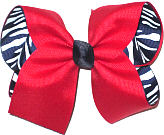 Large Red over Navy and White Zebra Stripes Double Layer Overlay Bow