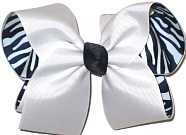 Large White over Navy and White Zebra Stripes Double Layer Overlay Bow
