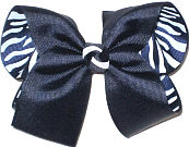Large Navy over Navy and White Zebra Stripes Double Layer Overlay Bow