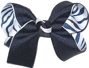 Medium Navy over Navy and White Zebra Stripes Double Layer Overlay Bow