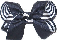 Medium Navy over Navy and White Stripes Double Layer Overlay Bow