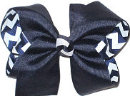 Large Navy over Navy and White Chevron Stripes Double Layer Overlay Bow