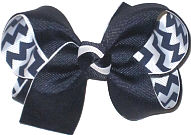 Medium Navy over Navy and White Chevron Stripes Double Layer Overlay Bow