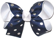 Medium Navy with Silver Dots over White Double Layer Overlay Bow