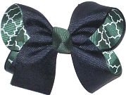 Medium Navy over Forest Green and White Quatrafoil Double Layer Overlay Bow