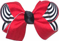Medium Red over Navy and White Stripes Double Layer Overlay Bow